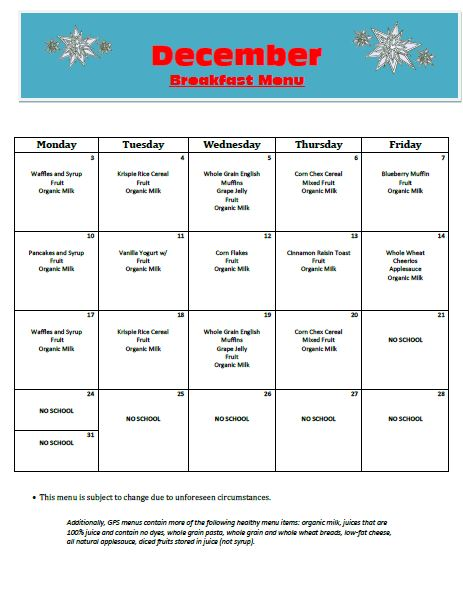 Golden Pond School Menus: Breakfast Menu