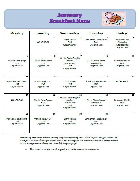 Golden Pond School Menus: January Breakfast Menu