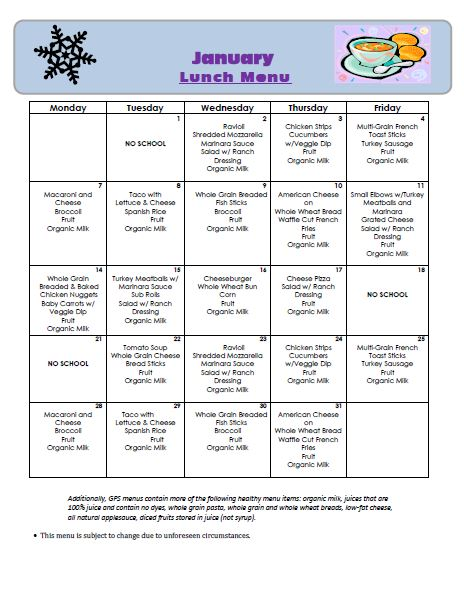 Golden Pond School Menus: January Lunch Menu