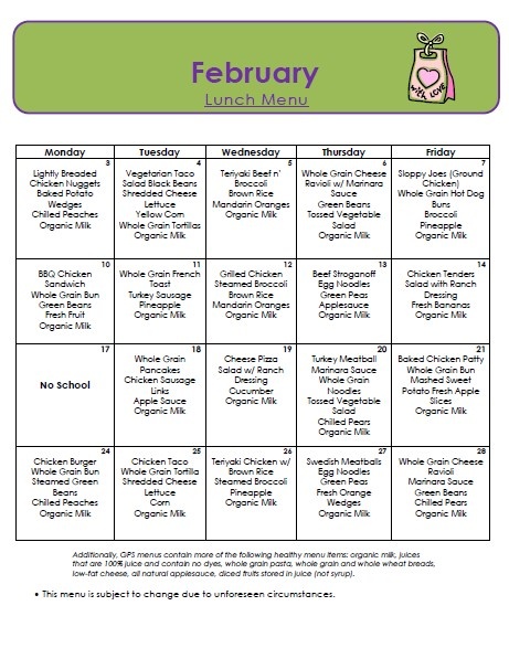 Golden Pond School Menus: Lunch Menu